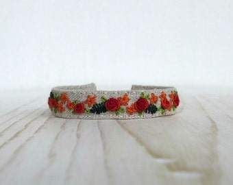 Floral Cuff Bracelet - Red And Orange Roses on Natural Linen - Hand Embroidered - Textile Art Jewelry - Handmade by Sidereal