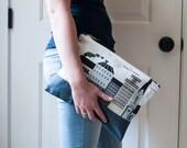 Waxed Canvas Clutch / Printed Clutch / Zipper Clutch / Purse / Bag / Handbag / Scandinavian / Graphic Print Clutch / Emelie EK Print /