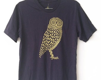 Gold Owl Deep Navy Blue Mens/Unisex T-Shirt