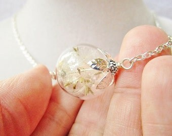 Dandelion Seed Glass Orb Terrarium Necklace in Silver or Bronze, Small Orb, Bridesmaids Gifts