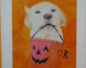 Animal art  Dog Halloween Card Labrador handmade card whimsical dog lover