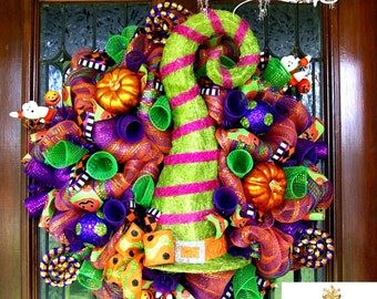 Whimsical Light Up Witch Hat Luxe Wreath