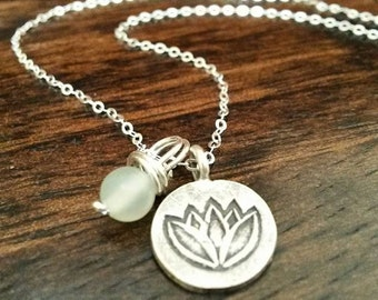 Lotus Necklace - Silver Charm Necklace with New Jade Bead, Sterling Silver Chain, Serpentine Yoga Necklace