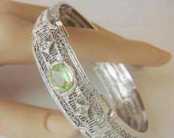 Art Deco Rhodium Filigree Peridot Crystal Link Bracelet / Designer Signed JH Peckham / Unique Clasp / Wedding Bridal / Jewelry