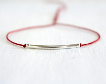 Minimalist Friendship Silk Cord Bracelet Boho Chic Best Friend Jewelry Sterling Silver Thin Tube Dainty Bracelet