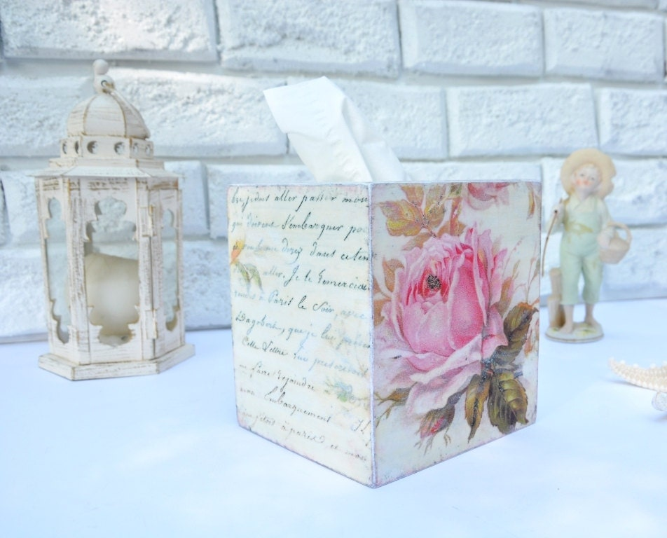 shabby chic tissue box cover wood tissue klennex box cover