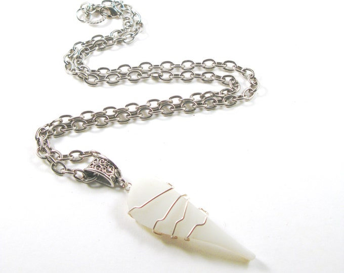 "Sterling Silver Wire Wrapped Milk White Pyrex Sea Glass on a Decorative Bail on a Silver Link Chain 16""-24"""