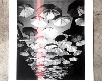 Umbrella Sky screen print 18x24