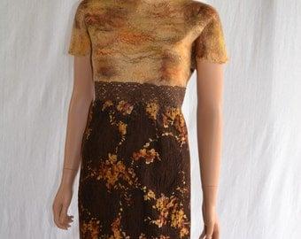 Eco fashion dress  Nuno felted  from natural silk and woo lNuno felt dress  - Mini wool dress - Boho Pixie dress -