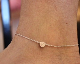 Initial anklet, heart anklet, ankle bracelet, silver anklet, gold anklet, delicate anklet, summer, beach,  children jewelry, child