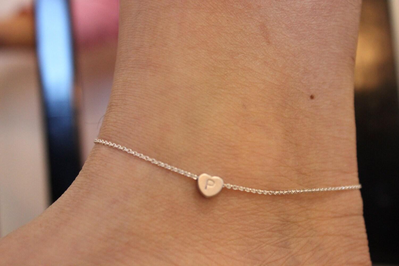 Initial Anklet Heart Anklet Ankle Bracelet Silver Anklet