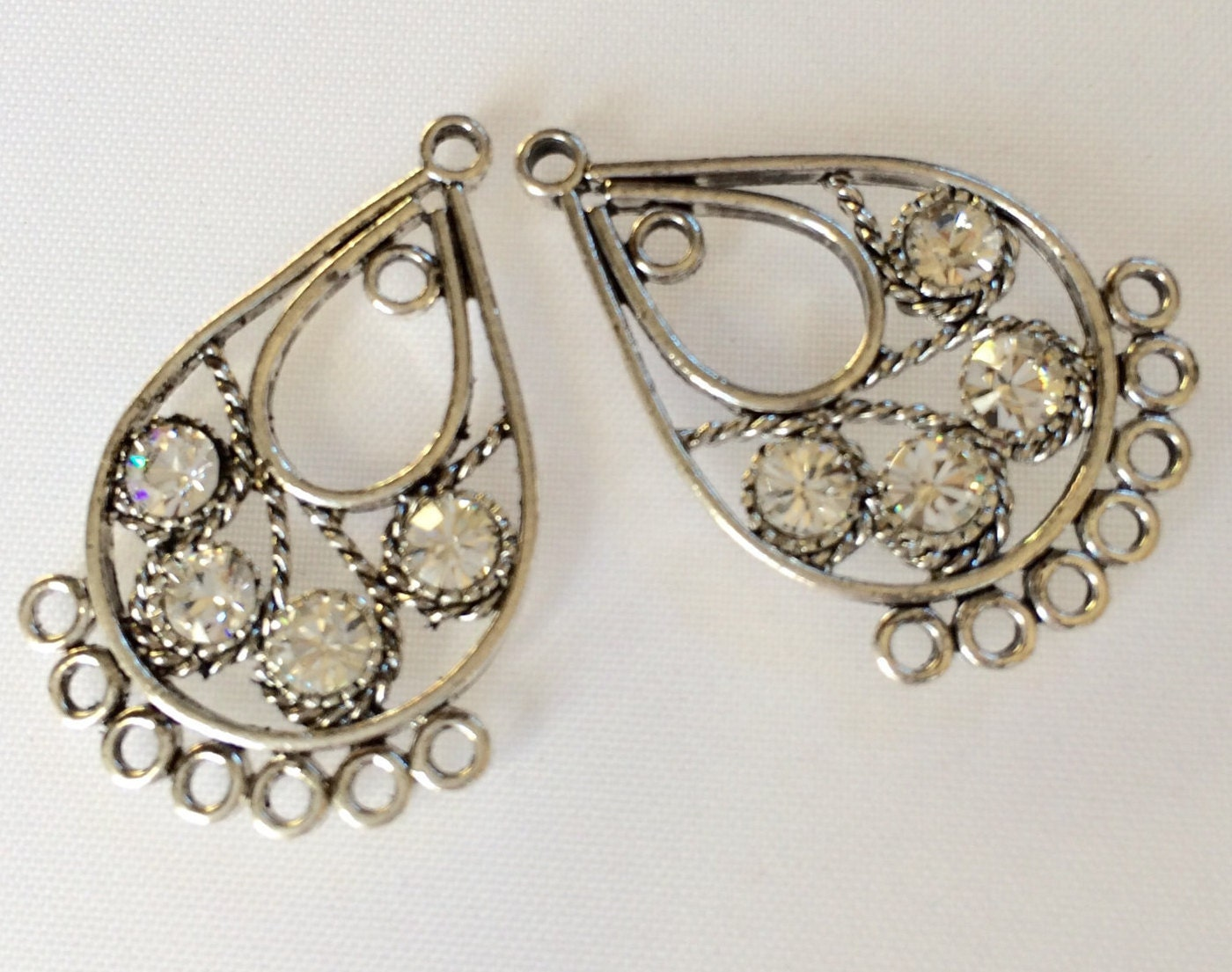Chandelier Earring Parts DIY Findings Antiqued Silver Pewter ...
