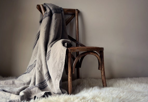 Vintage Grainsack Heavy Linen Bed Cover Coverlet Summer