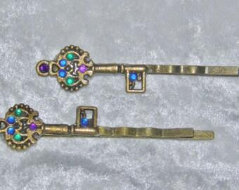 Jeweled Skeleton Key Hair Pin Bobby Pin Pair