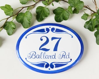 Custom ceramic House Numbers Blue oval address Sign House Number Plaque Outdoor hanging address tiles