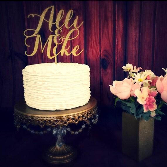 Custom Name Cake Topper, Wedding Cake Topper, Engagement Cake Topper, Bridal Shower Cake, Anniversary Cake Topper, Glitter Cake Topper