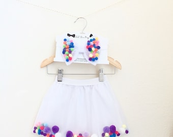 Girl Pom Pom Tutu Skirt, TOO 2 CUTE TUTUs,Girl Tutu & Bow,Fancy Girl Tutu,Girl Photography Outfit,Girl Colorful Tutu,Girl Elasticwaist Tutu