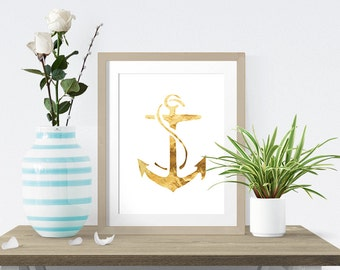 Gold and White Anchor -  Wall Art Poster - Printable Poster - Digital Download - 300 DPI - 8 x 10 inches - PDF & JPEG