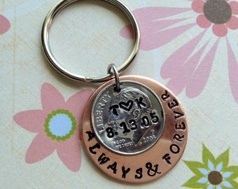 10 Year Anniversary/ Always and Forever Keychain Hand Stamped Dime  /2007  Couple Gift/ Wedding /Key Chain/ Gift for Her Gift For Him