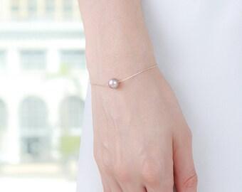 Rose Gold Gold Pearl Bracelet - Rose Gold Pearl - Powder Almond - Bridesmaid Pearl Bracelet - Wedding Pearls - Floating Pearl Bracelet