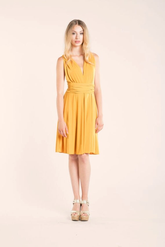 short yellow dress mustard yellow infinity dress yellow by mimetik. Black Bedroom Furniture Sets. Home Design Ideas