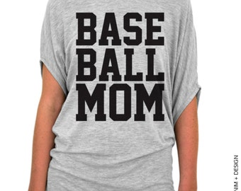 Baseball Mom Shirt - Gray Slouchy Tee - Baseball mom tee, gift for mom, womens top, tunic length, slouchy tee, longer length, sporty mom,