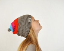 Girls slouchy knitted beanie, colorful pixie hat, hand knitted beanie, vivid color headwear, gnome costume, multicolored hat, wearable art