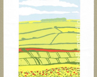 Yorkshire Wolds - Original Limited Edition Linocut Reduction Print