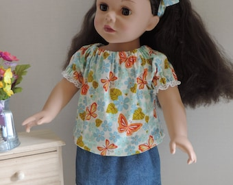 Peasant Top with Butterflies and Flowers for American Girl Doll