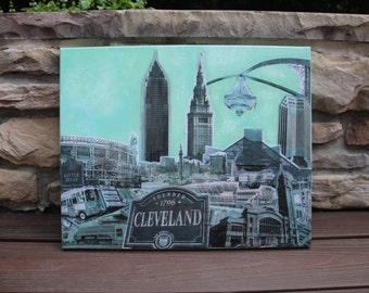 """16""""x20"""" Cleveland Skyline Canvas Collage (Made to Order)"""