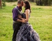 Gray Wedding Dress Sweetheart Neckline Pleated Organza Asymmetrical