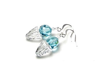 Blue Sno Cone Swarovski Crystal Silver Earrings, Mini Frozen Snow Ball Jewelry, Fun Summer Dessert Food Earrings for Teens in Aqua Turquoise