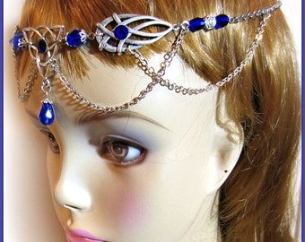 Triquetra Celtic Circlet, Silver Headdress, Handfasting Headdress, Ren Faire, Choose Color
