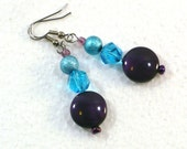 Purple & Aqua Drop Earrings - Beaded Dangle Earrings, Nickle-Free Ear Wires, Fashion Jewelry Handmade in the USA, Ready to Ship