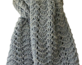 Hand Knit Scarf - Grey Things Past Cashmere Feather Fan Lace