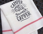 Happy Camper, RV Decor, Kitchen Dish Towel, Camper Gift Idea, Hanging Cotton Flour Sack, RV Sweet Camper, Glamping Camping, RV Gifts, Pop Up