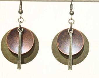 Boho Earrings Bohemian Earrings Mixed Metal Earrings Copper Brass Earrings Dangle Earrings Boho Jewelry Primitive Ethnic Earrings Gift Ideas