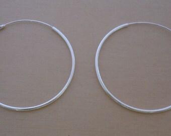 925 Sterling Silver HOOP Earrings, 50 mm Diameter & 2 mm Thickness