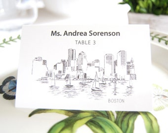 Boston Skyline Place Cards Personalized with Guests Names (Sold in sets of 25 Cards)