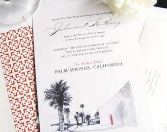 The Parker Palm Springs Hand Drawn Destination Wedding Invitation Package (Sold in Sets of 10 Invitations, RSVP Cards + Envelopes)