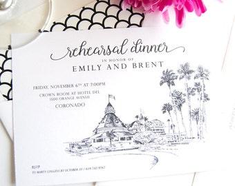 Hotel Del Coronado Skyline Rehearsal Dinner Invitations (set of 25 cards)