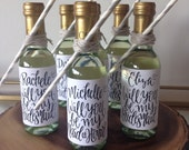 CUSTOM Calligraphy Bridal Party Wine Label (made for mini wine bottles) * Bride, MOH, Bridesmaid, Wedding, Bridal Party