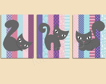 Poster/poster/illustration for nursery girl/baby/color pink/purple/blue/graphic/floral pattern / wall decor/grey cats