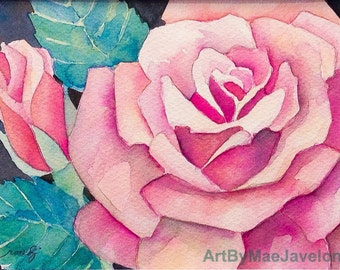 "Pink Rose and Bud, Original Watercolor Painting, 5""X7"""