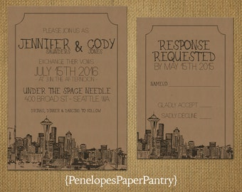 Seattle,Washington Destination Wedding Invitations,Vintage Cityscape Sketch,Kraft Paper,Opt RSVP Card,Customizable,With Kraft Envelopes