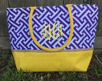 Purple & Gold beach bag