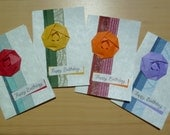 Birthday card, handmade with origami flowers, Japanese paper and fibered card stock