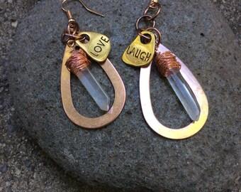 Sale-Mixed Metal,Copper,Natural Crystal Earrings,OOAK