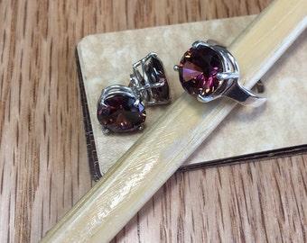 Sale-save 20.00,Bold Rhodolite Jewelry set,Garnet CZ's,925 Sterling Silver,Rhodolite Earrings,Ring,Statement,January birthstone