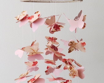Floral Butterfly Mobile - Home Decor - Pink Mobile - Kids Room -Nursery Mobile -Shabby Chic Mobile -Girls Mobile -Flower Mobile -Baby Shower